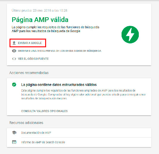 Resultados de validación AMP. Imagen